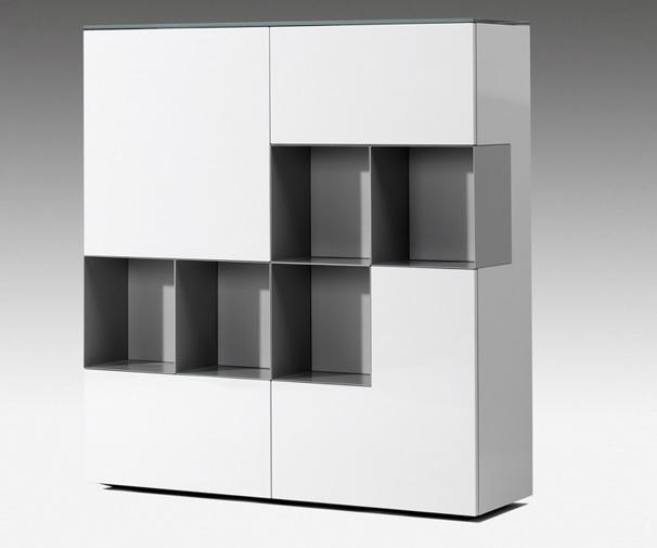 Moderne vakkenkast wit