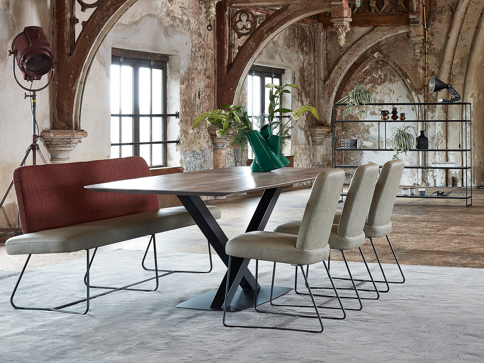 Oxxi-Skyler-Bert Plantagie Oxxi tafel eetkamerbank-Skyler